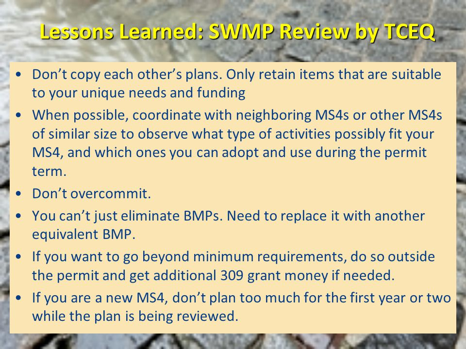 Lessons Learned: SWMP Review by TCEQ