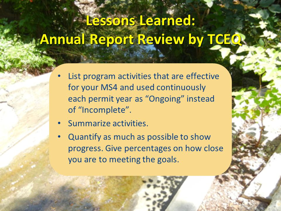 Lessons Learned: Annual Report Review by TCEQ