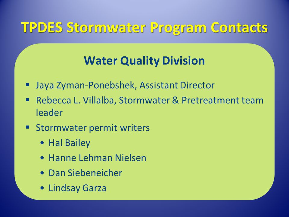 TPDES Stormwater Program Contacts
