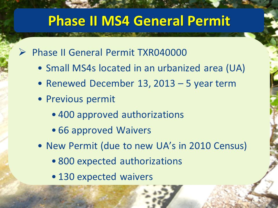 Phase II MS4 General Permit