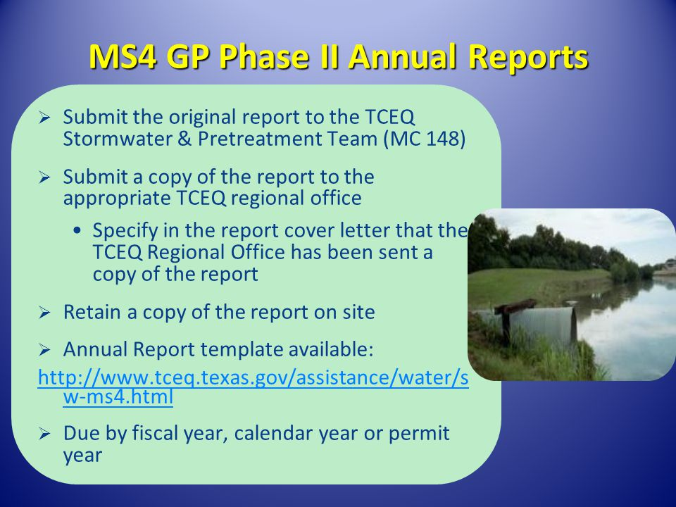 MS4 GP Phase II Annual Reports
