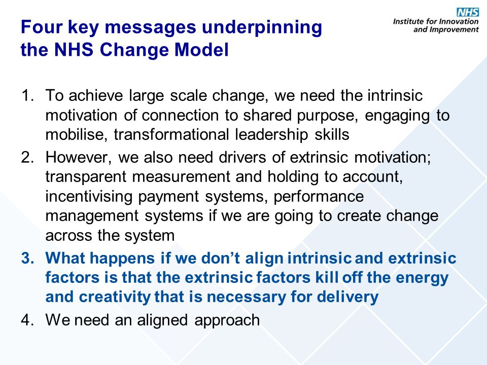 Four key messages underpinning the NHS Change Model