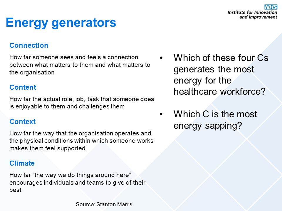 Energy generators Connection. How far someone sees and feels a connection between what matters to them and what matters to the organisation.