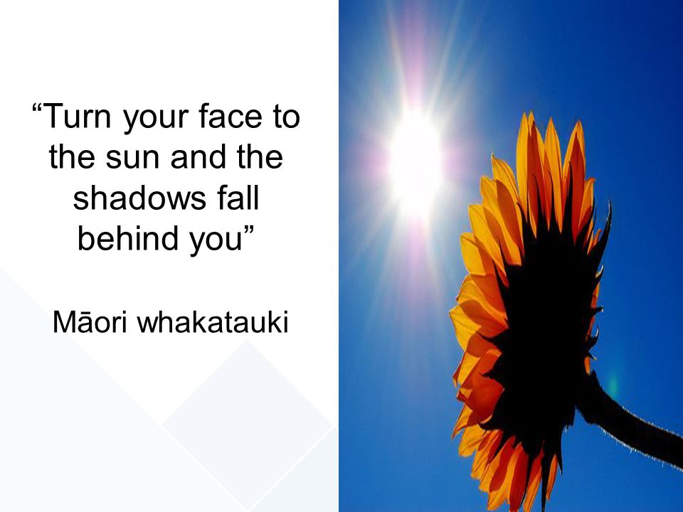 Turn your face to the sun and the shadows fall behind you Māori whakatauki
