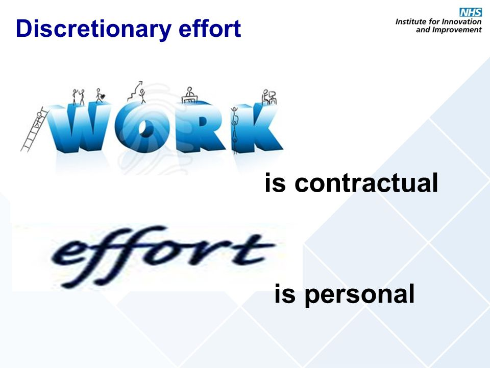 Discretionary effort is contractual is personal