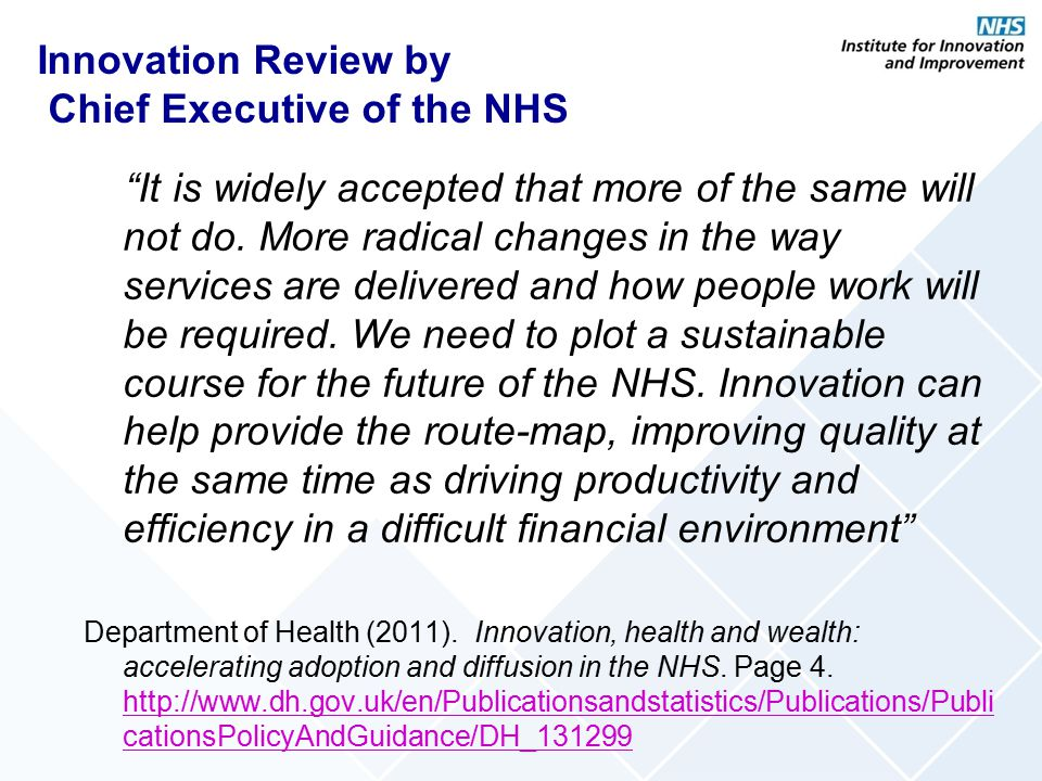Innovation Review by Chief Executive of the NHS