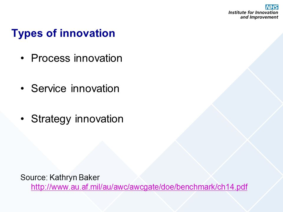 Types of innovation Process innovation Service innovation