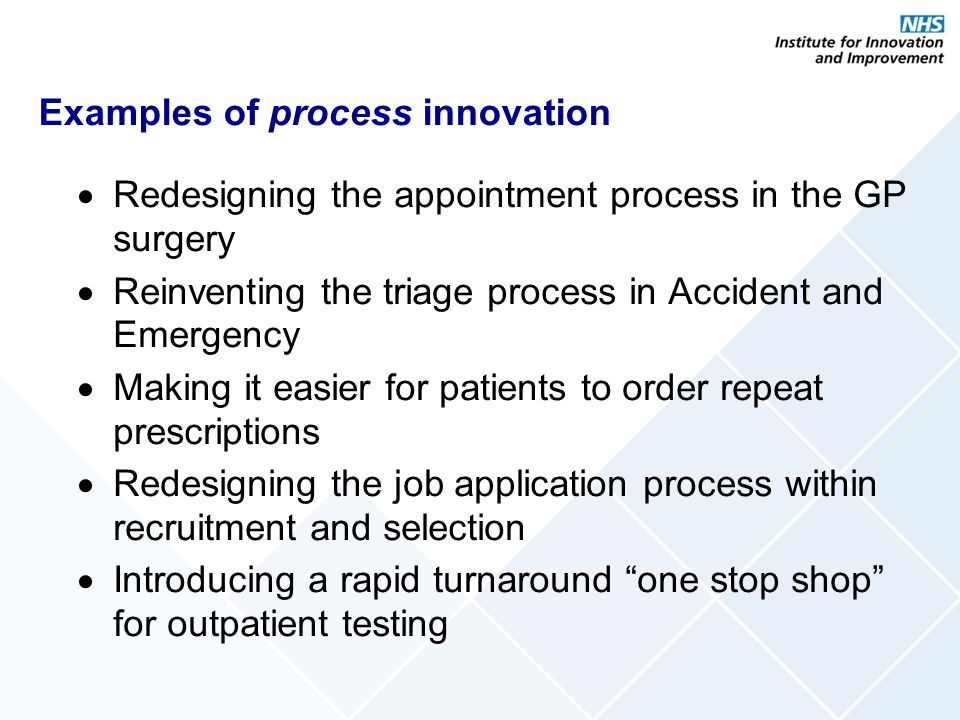 Examples of process innovation