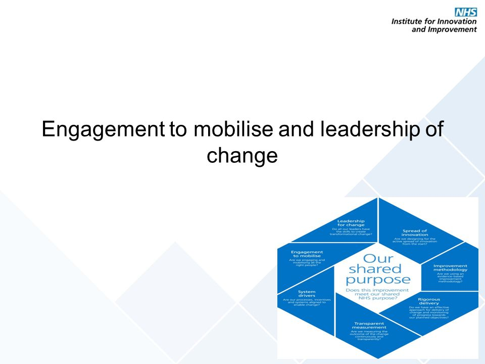 Engagement to mobilise and leadership of change