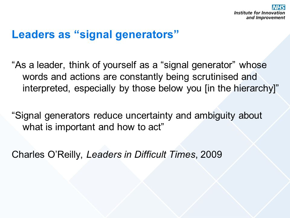 Leaders as signal generators