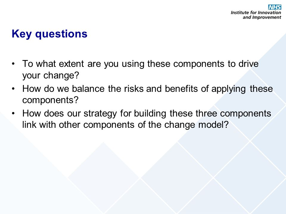 Key questions To what extent are you using these components to drive your change