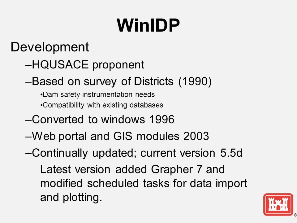 WinIDP HQUSACE proponent Based on survey of Districts (1990)