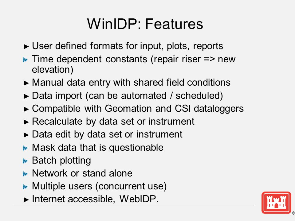 WinIDP: Features User defined formats for input, plots, reports