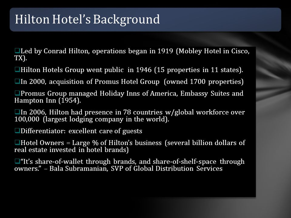 Hilton Hotel's Background