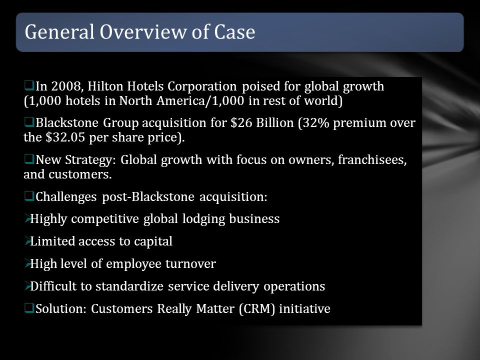 General Overview of Case