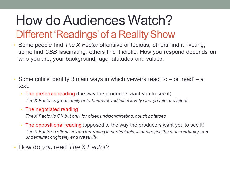 How do Audiences Watch Different 'Readings' of a Reality Show