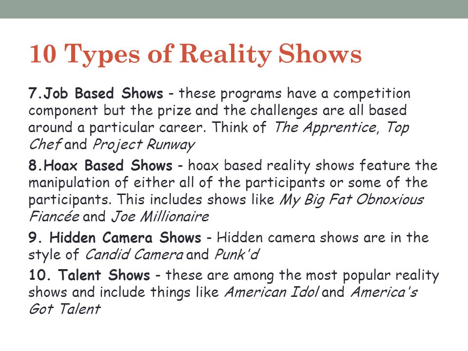 10 Types of Reality Shows