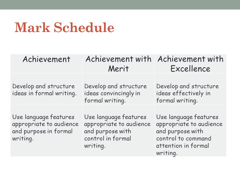 Mark Schedule Achievement Achievement with Merit
