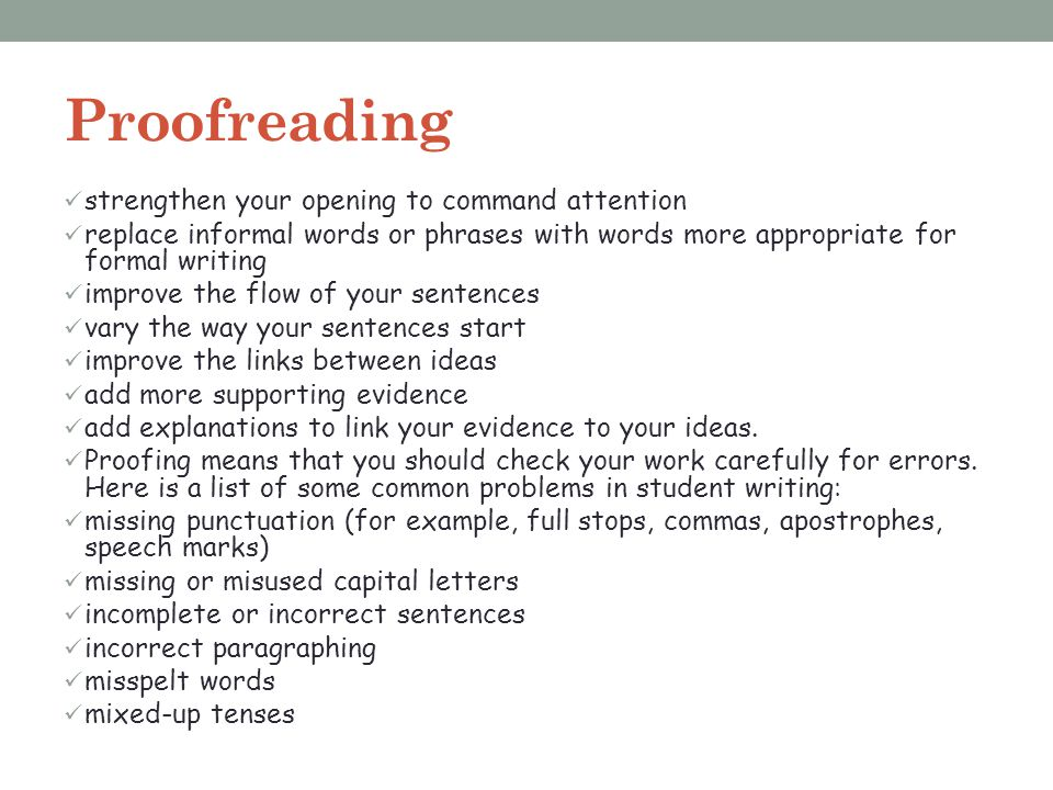 Proofreading strengthen your opening to command attention