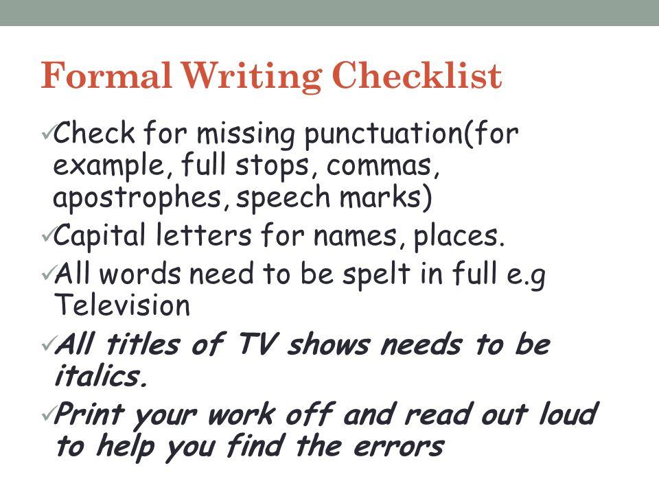 Formal Writing Checklist