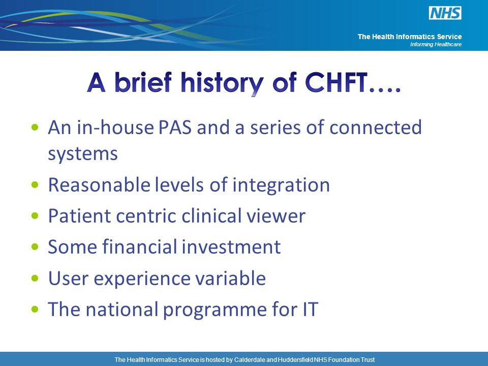 A brief history of CHFT….