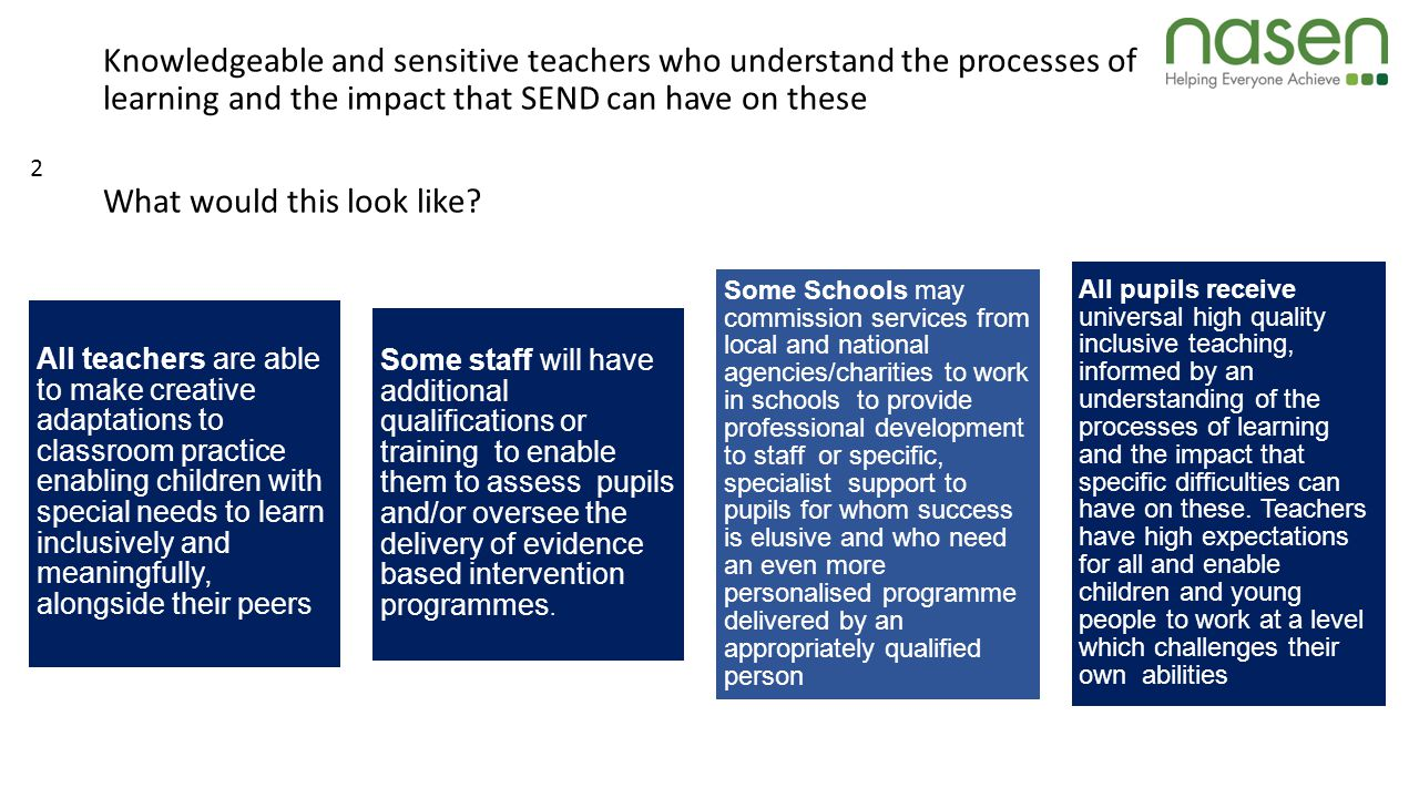 Knowledgeable and sensitive teachers who understand the processes of learning and the impact that SEND can have on these What would this look like