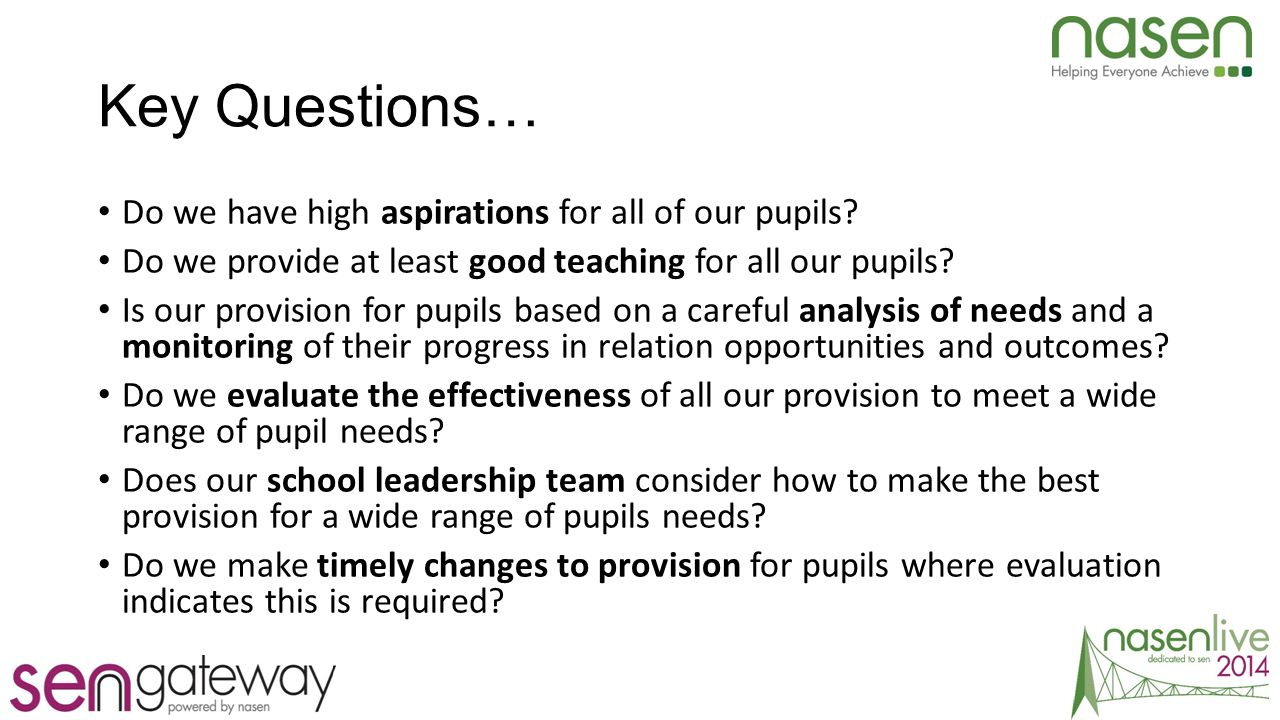 Key Questions… Do we have high aspirations for all of our pupils