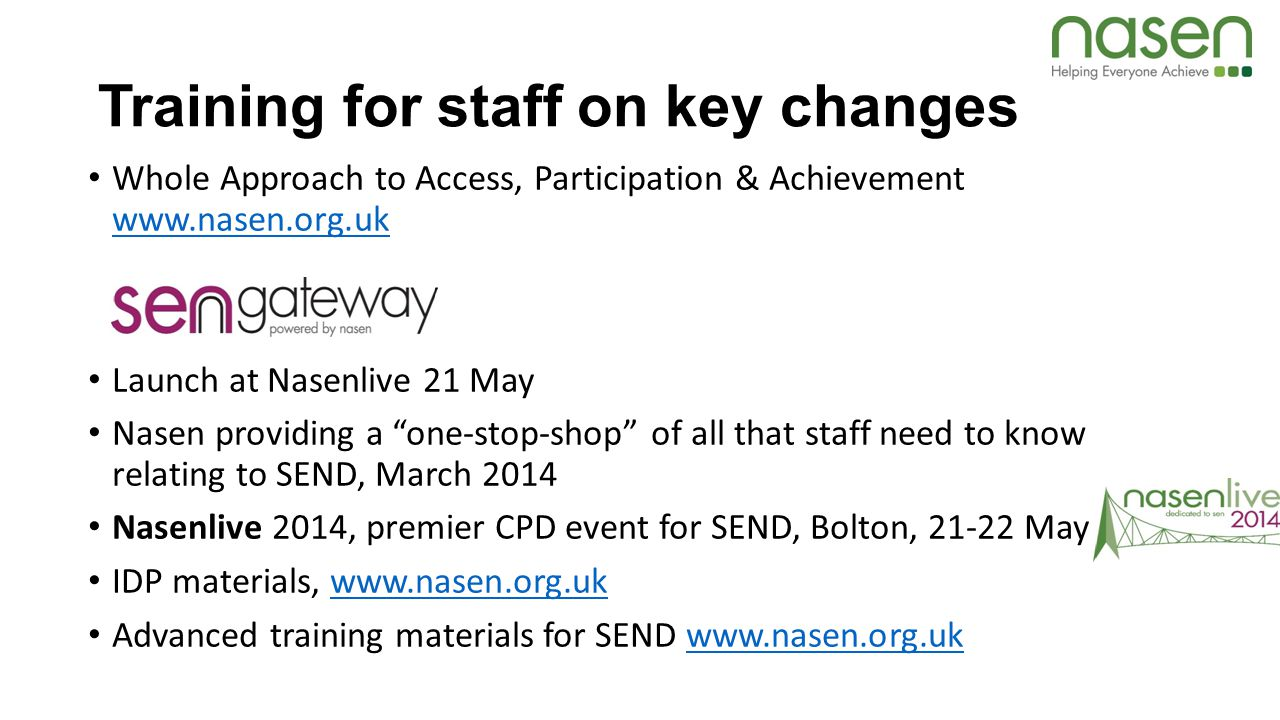 Training for staff on key changes