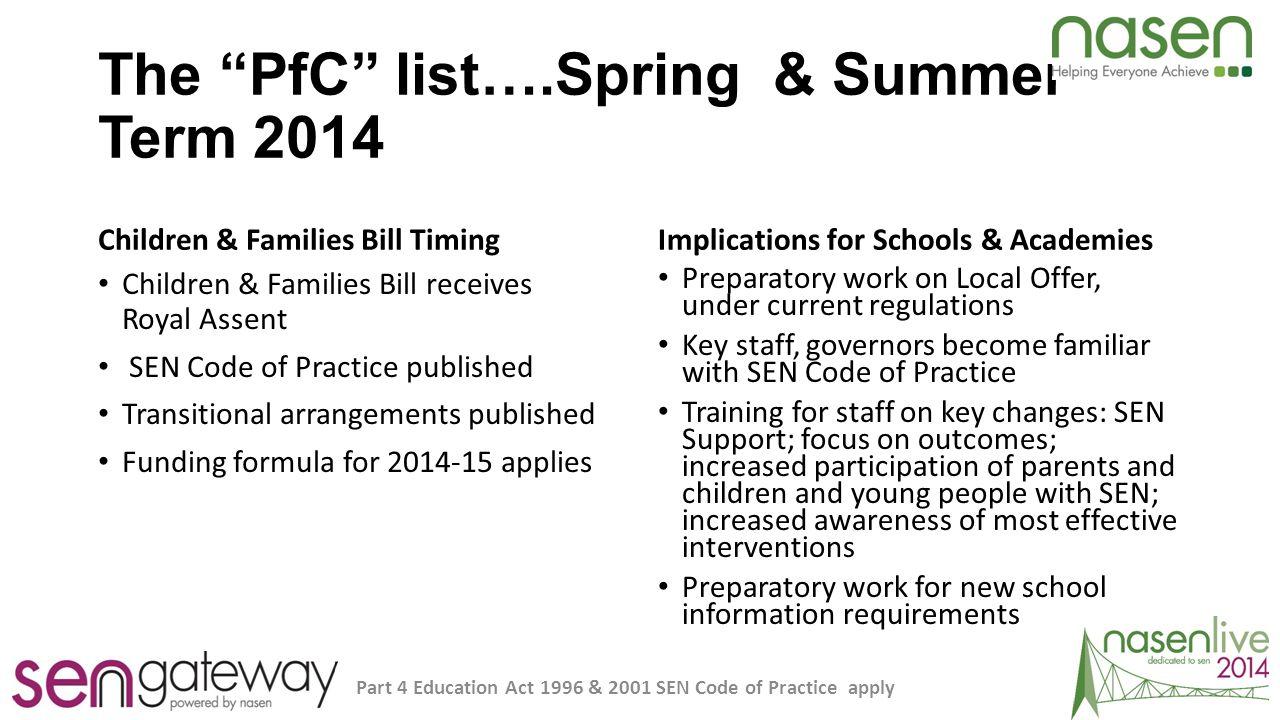 The PfC list….Spring & Summer Term 2014