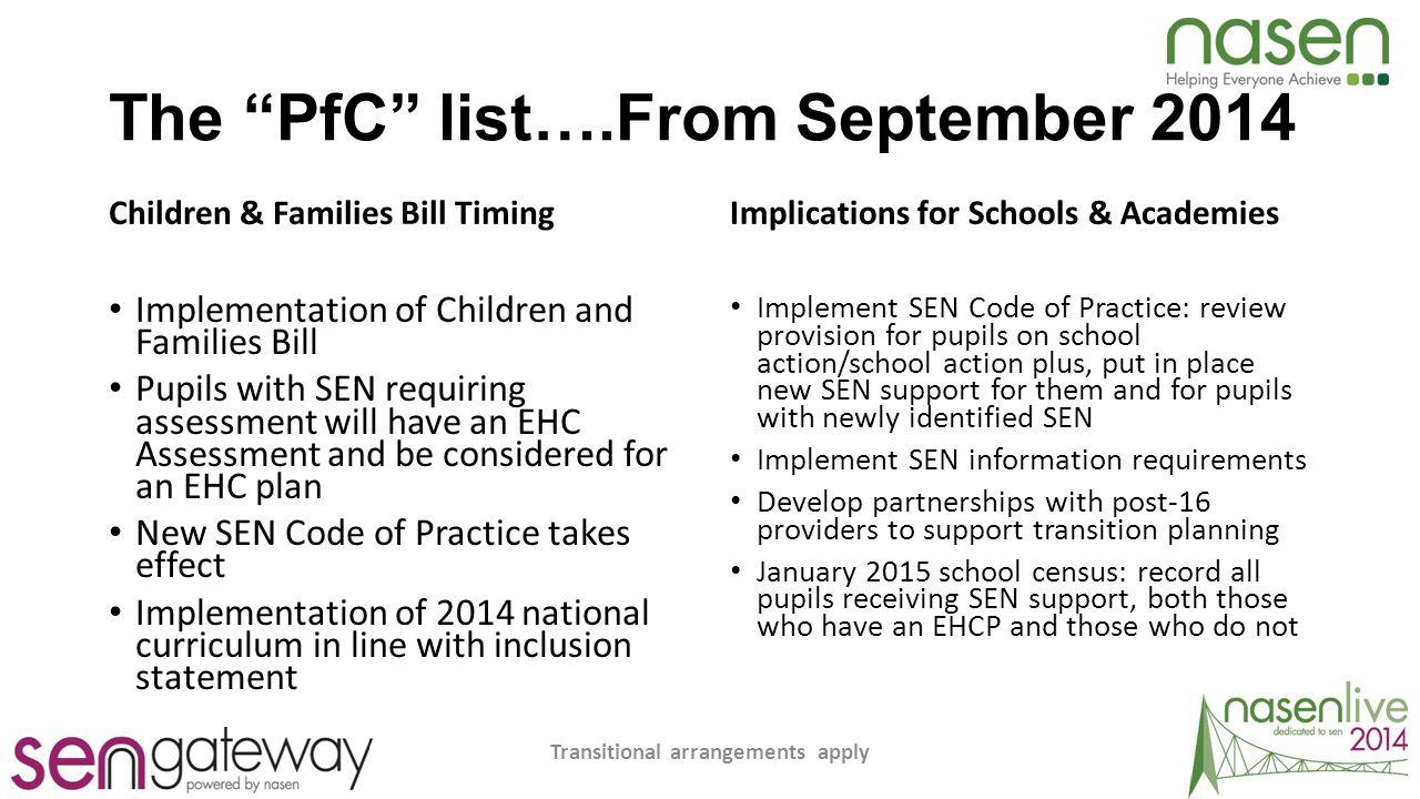 The PfC list….From September 2014