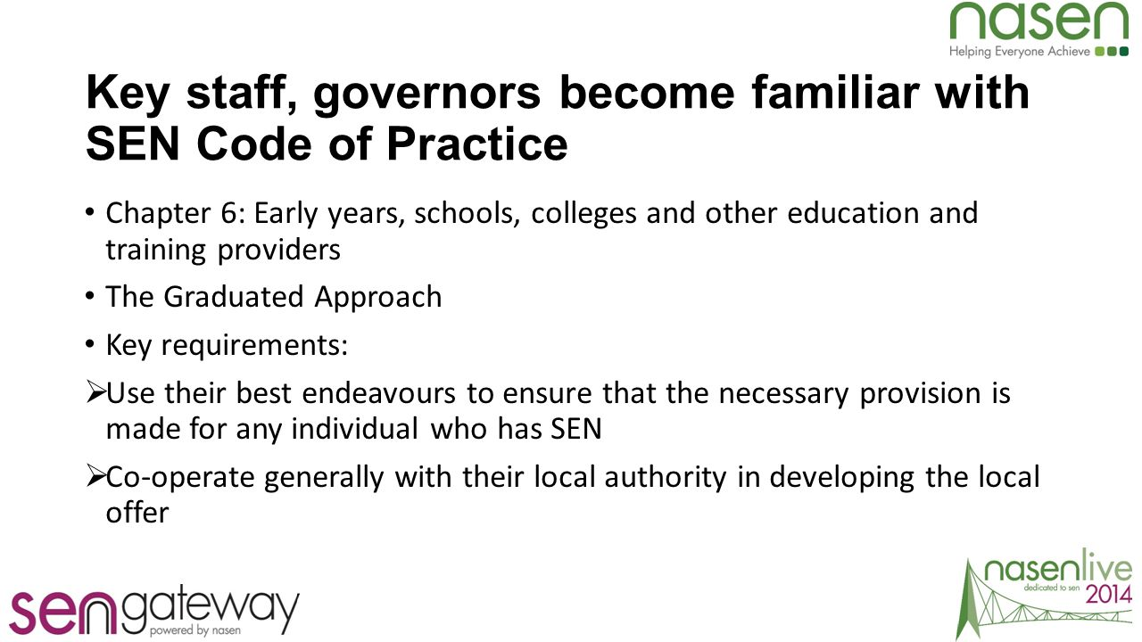 Key staff, governors become familiar with SEN Code of Practice