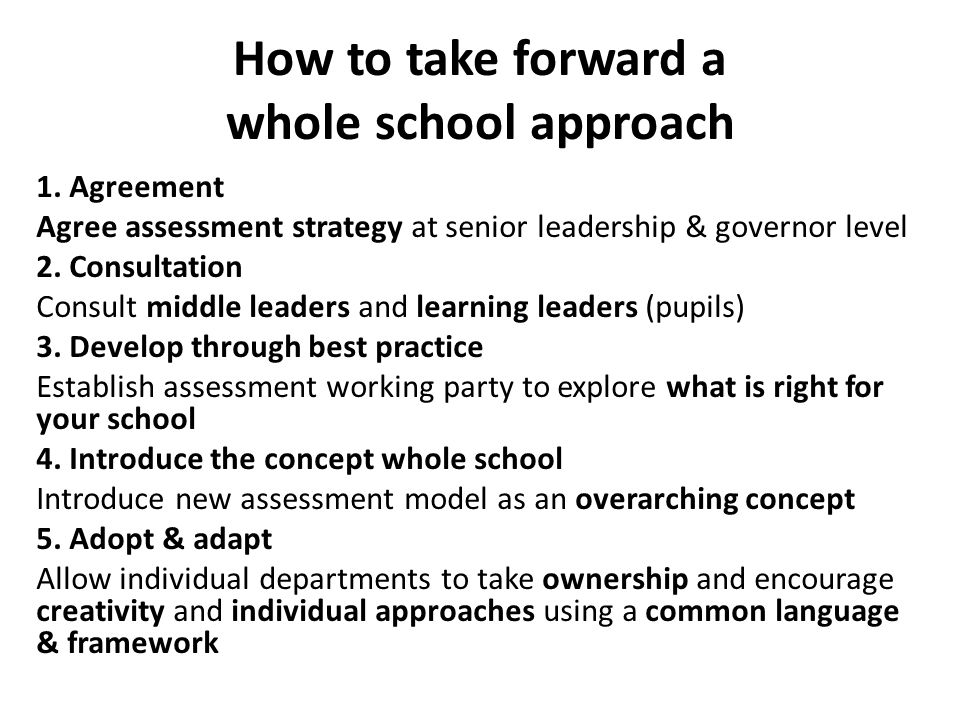 How to take forward a whole school approach