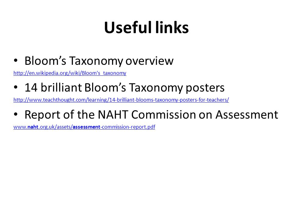 Useful links Bloom's Taxonomy overview