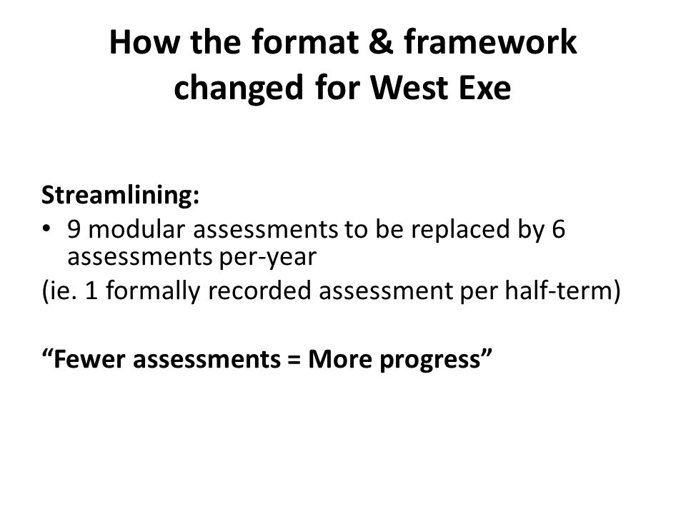 How the format & framework changed for West Exe