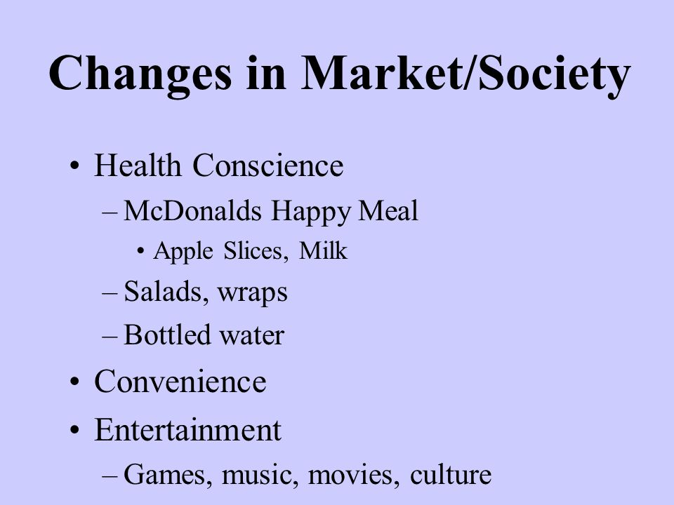 Changes in Market/Society