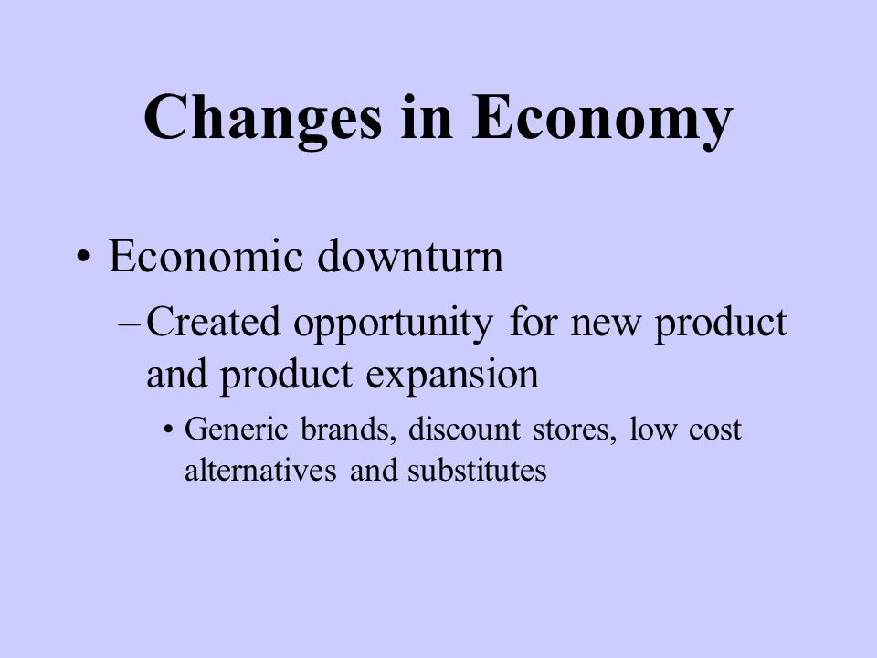 Changes in Economy Economic downturn