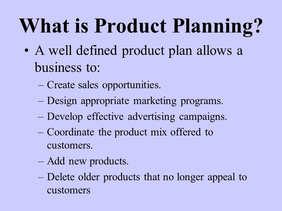 What is Product Planning