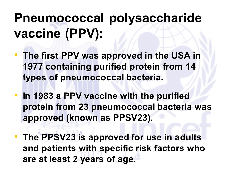 Pneumococcal polysaccharide vaccine (PPV):