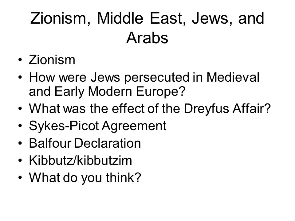 Zionism, Middle East, Jews, and Arabs