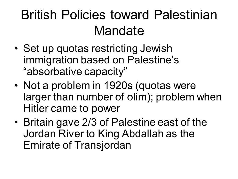 British Policies toward Palestinian Mandate