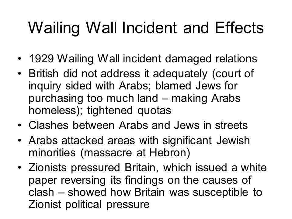 Wailing Wall Incident and Effects