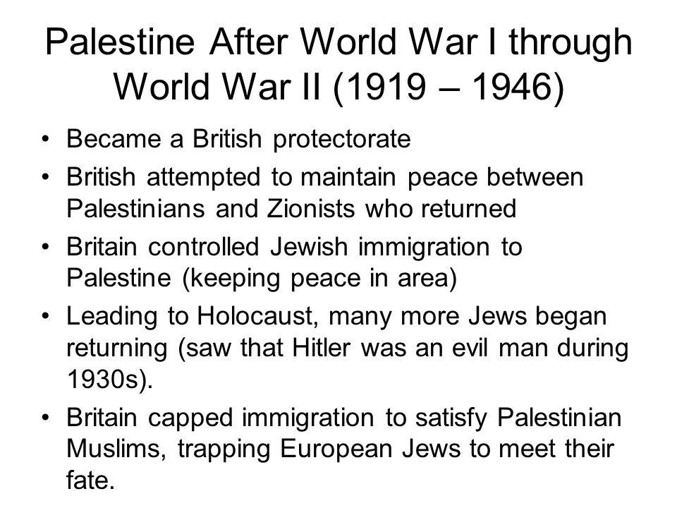 Palestine After World War I through World War II (1919 – 1946)