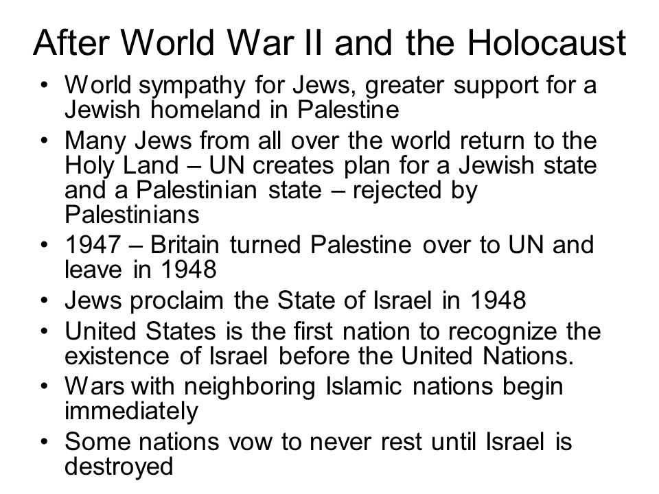 After World War II and the Holocaust
