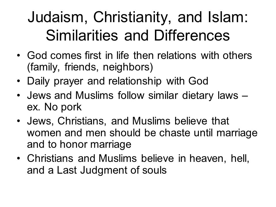 Judaism, Christianity, and Islam: Similarities and Differences