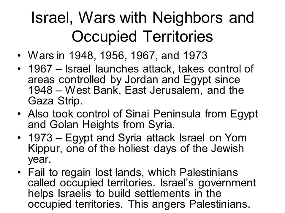 Israel, Wars with Neighbors and Occupied Territories