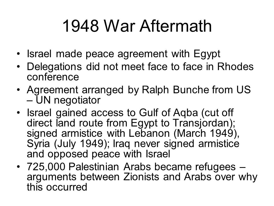 1948 War Aftermath Israel made peace agreement with Egypt