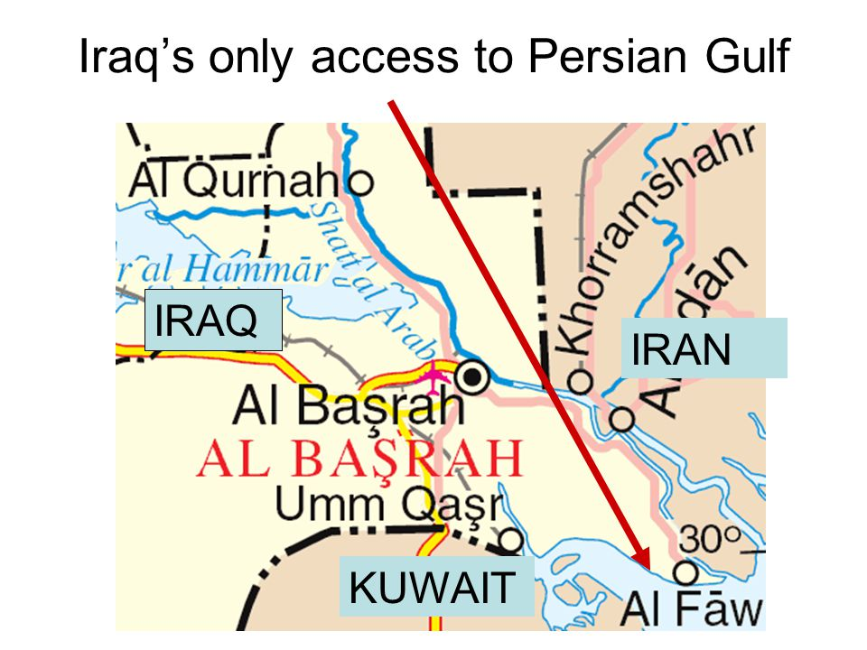Iraq's only access to Persian Gulf