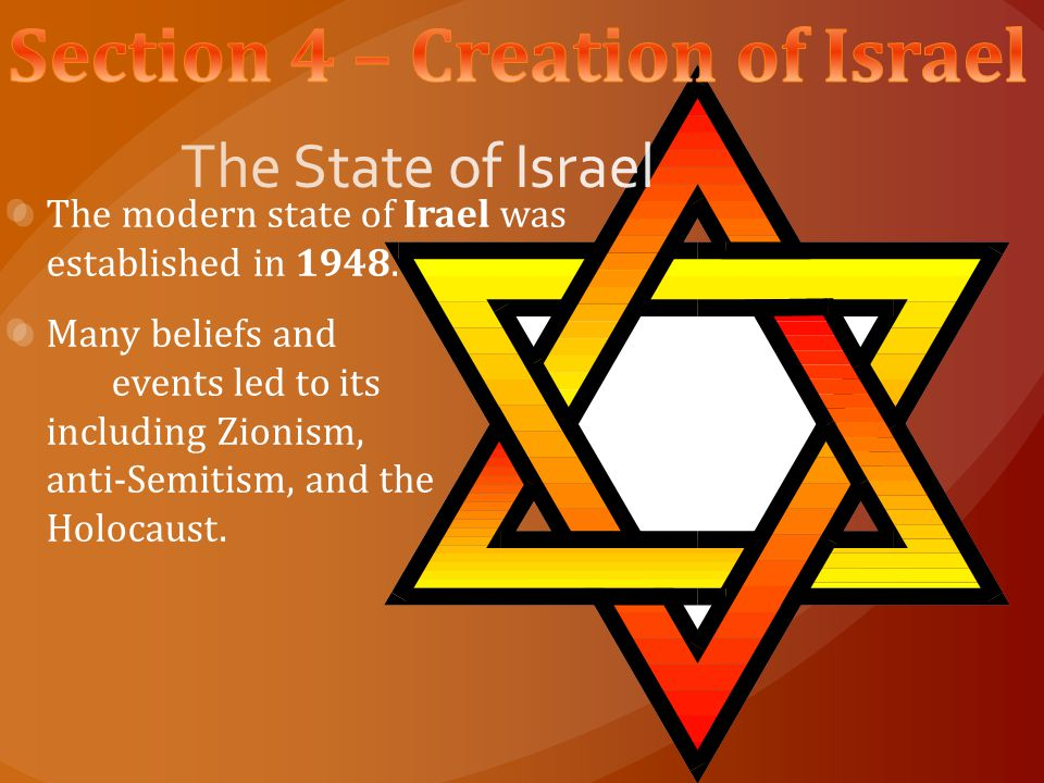 Section 4 – Creation of Israel