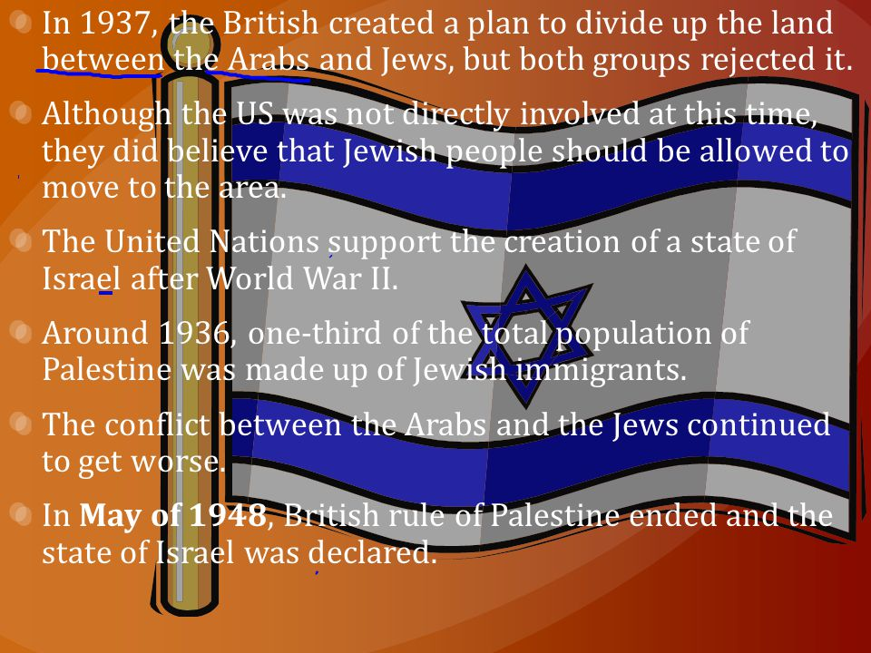 In 1937, the British created a plan to divide up the land between the Arabs and Jews, but both groups rejected it.