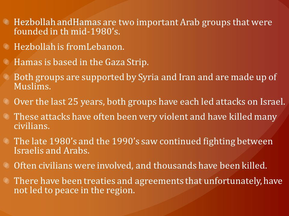Hezbollah andHamas are two important Arab groups that were founded in th mid-1980's.